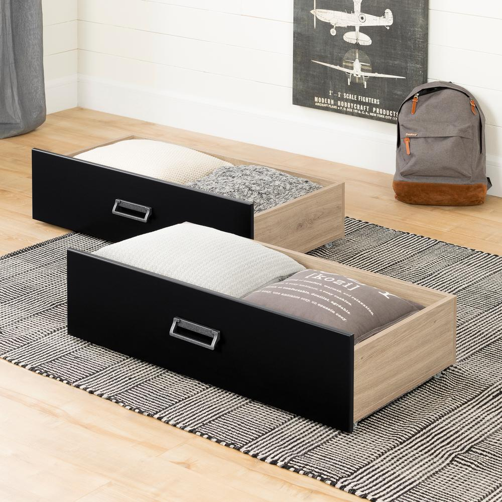 South S Induzy Rustic Oak And Matte Black Drawers On Wheels Set Of 2