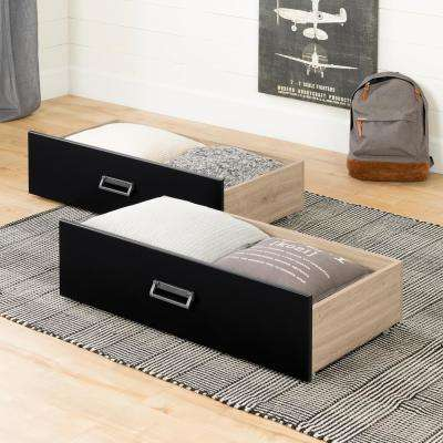 Induzy Rustic Oak and Matte Black Drawers on Wheels (Set of 2)