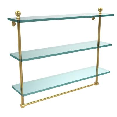 Mambo 22 in. L  x 18 in. H  x 5 in. W 3-Tier Clear Glass Bathroom Shelf with Towel Bar in Unlacquered Brass