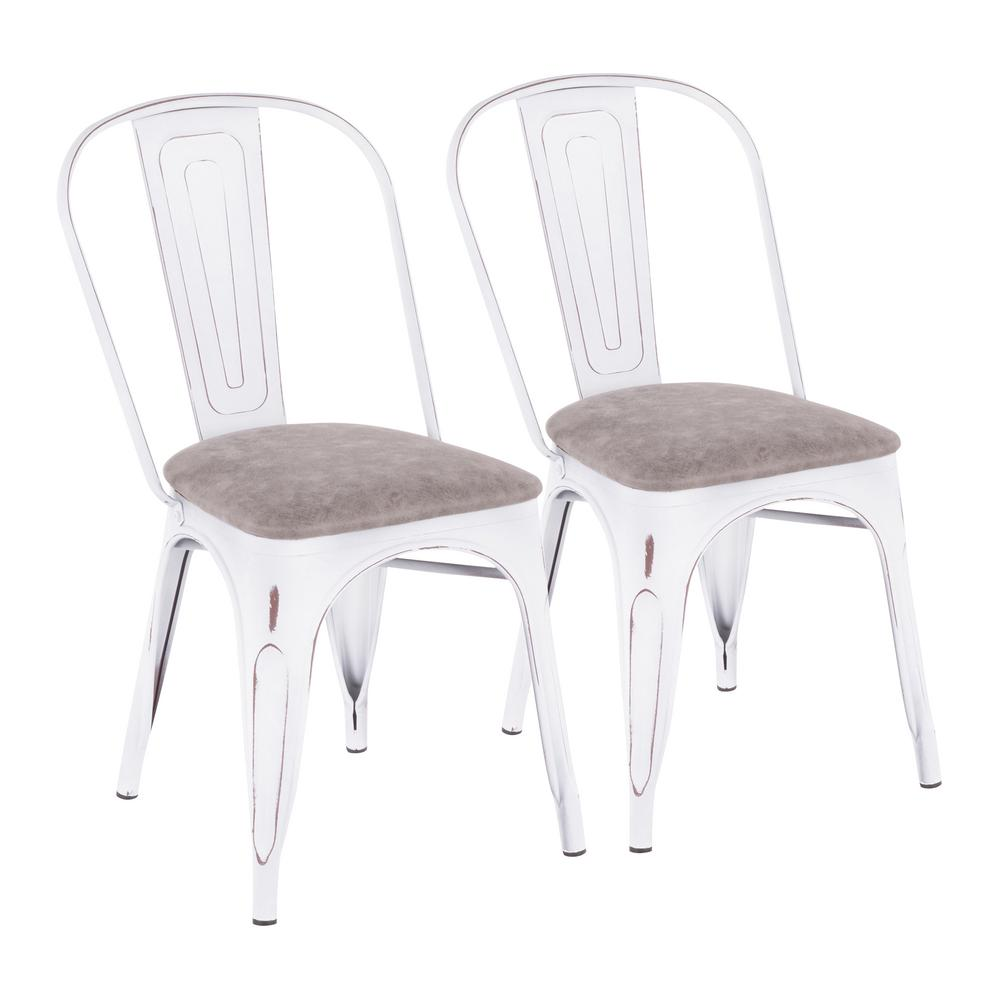 Beau Lumisource Oregon Grey And Vintage White Upholstered Dining Chair (Set Of 2)