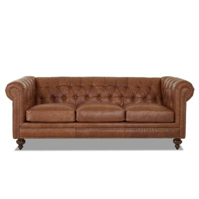 Blakely 95 in. Max Buff Leather 3-Seater Chesterfield Sofa with Removable Cushions