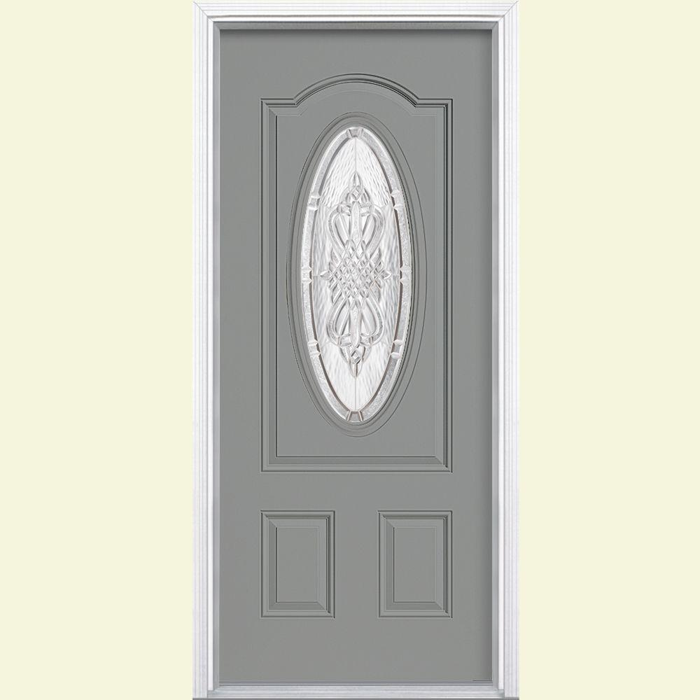 Masonite 36 in. x 80 in. New Haven 3/4 Oval Left Hand Inswing Painted Smooth Fiberglass Prehung Front Door w/ Brickmold