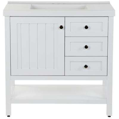 Lanceton 37 in. W x 22 in. D Bath Vanity in White with Cultured Marble Vanity Top in White with White Sink
