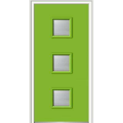 36 in. x 80 in. Aveline Left-Hand Inswing 3-Lite Frosted Glass Painted Fiberglass Smooth Prehung Front Door