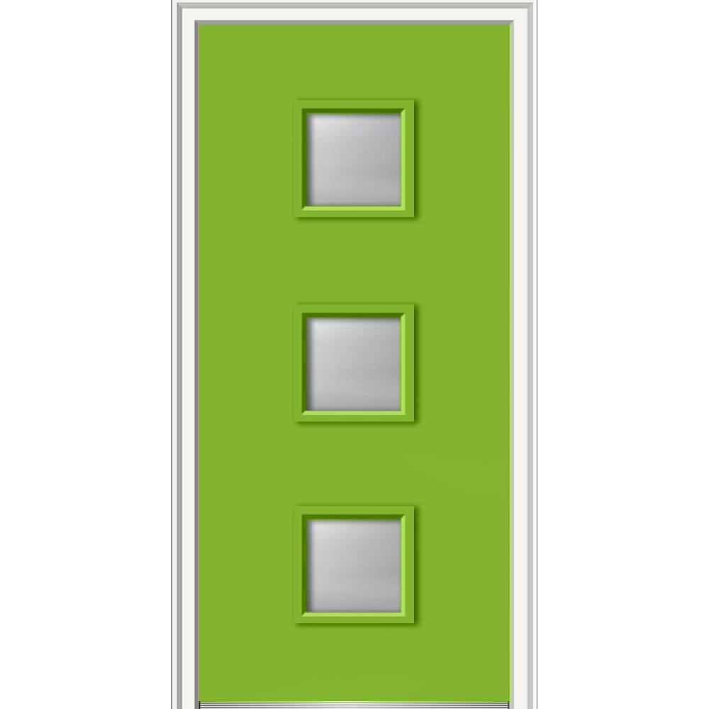 Mmi door 30 in x 80 in aveline right hand inswing 3 lite frosted glass painted fiberglass 30 exterior door with glass