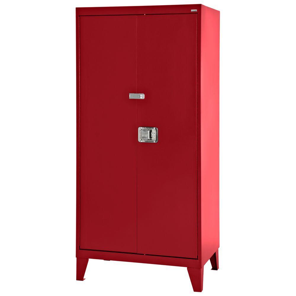 79 in. H x 46 in. W x 18 in. D Freestanding Steel Cabinet in Red