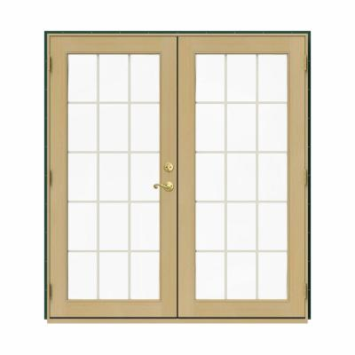 JELD-WEN 72 in. x 80 in. W-2500 Green Clad Wood Right-Hand 15 Lite French Patio Door w/Unfinished Interior, Hartford Green