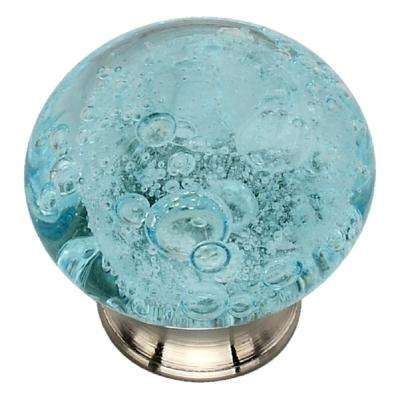 1-1/2 in. Sky Blue Bubbled Glass Cabinet Knob