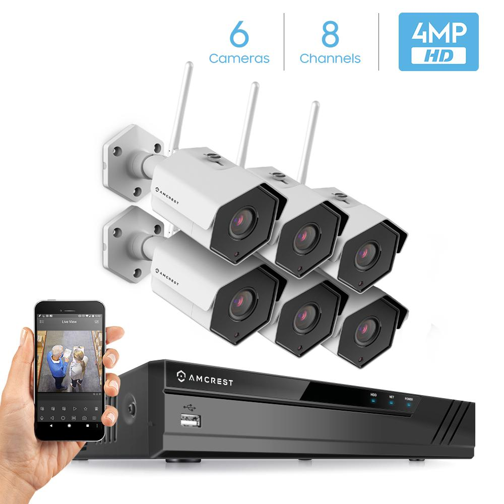Amcrest ProHD H.265 8-Channel 4K NVR 4MP 1440P Surveillance System with 6 Wireless WiFi Bullet ...