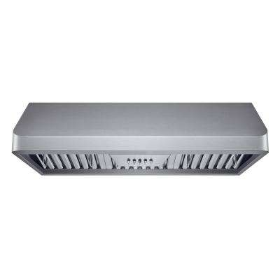36 in. 300 CFM Under Cabinet Range Hood in Stainless Steel with Baffle Filters, LED Lights and Push Buttons