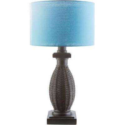 Oliver 28 in. Black Indoor/Outdoor Table Lamp with Teal Shade