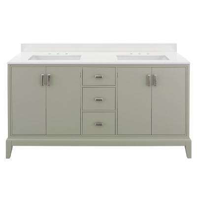 Shaelyn 61 in. W x 22 in. D Vanity in Sage Green with Engineered Marble Vanity Top in Winter White with White Basins