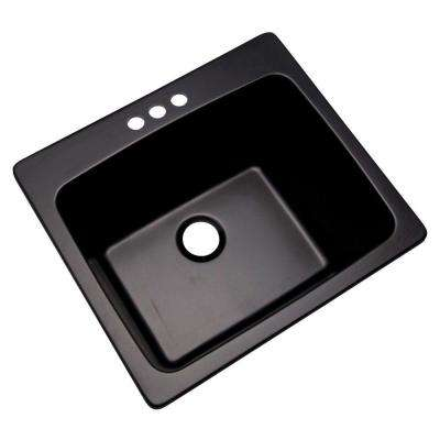 Wakefield Dual Mount Natural Stone Composite 25 in. 3-Hole Single Bowl Utility Sink in Black