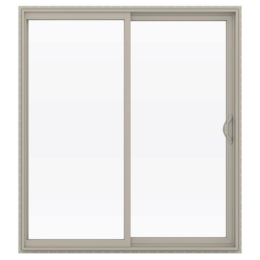 72 in. x 80 in. V-2500 Desert Sand Vinyl Right-Hand Full Lite Sliding Patio Door