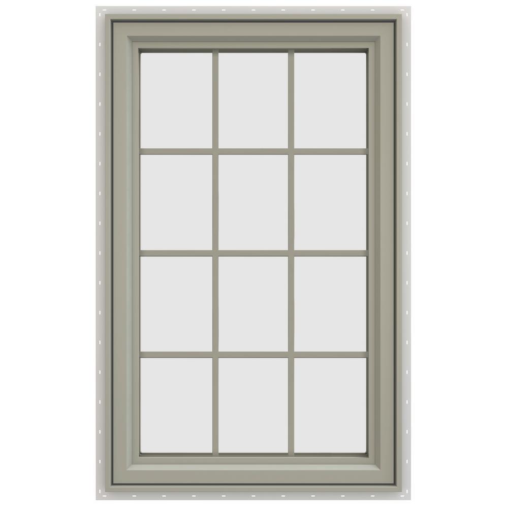 29.5 in. x 47.5 in. V-4500 Series Left-Hand Casement Vinyl Window with Grids - Tan