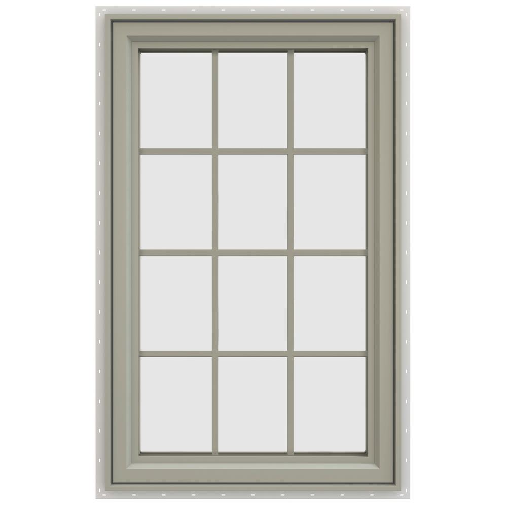 jeld wen 35 5 in x 47 5 in v 4500 series right hand casement vinyl window with grids tan. Black Bedroom Furniture Sets. Home Design Ideas