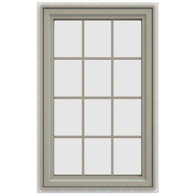 35.5 in. x 47.5 in. V-4500 Series Right-Hand Casement Vinyl Window with Grids - Tan