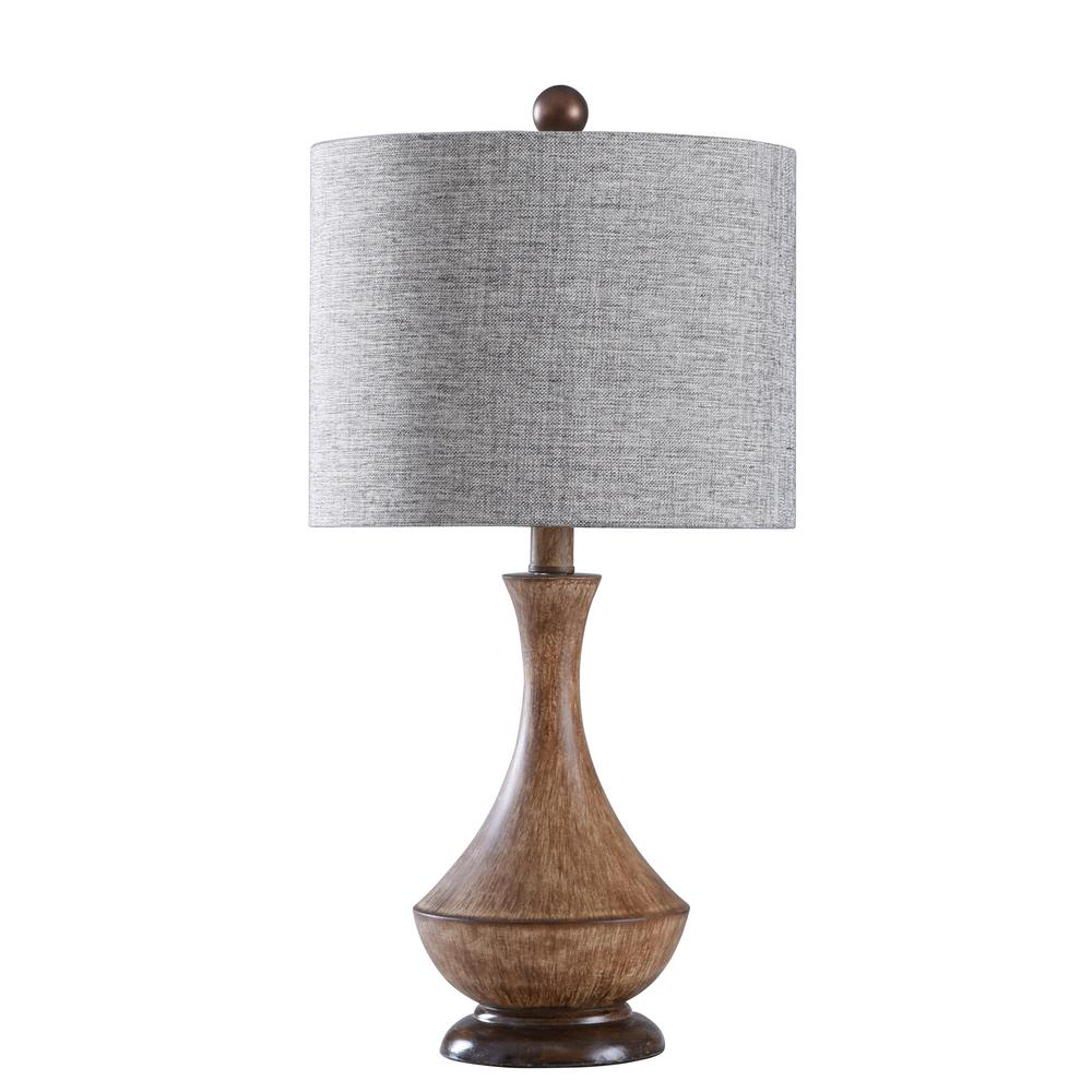 Stylecraft 22 75 In Painted Light Brown Table Lamp With Heathered Chocolate Hardback Fabric Shade