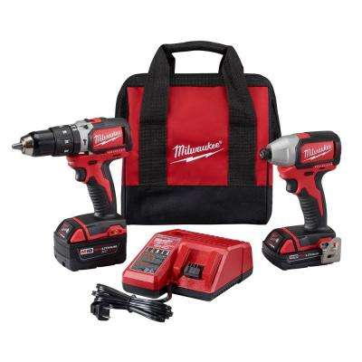 M18 18-Volt Lithium-Ion Cordless Compact Brushless Hammer Drill/Impact Combo Kit (2-Tool) w/(2) Batteries, Charger, Bag