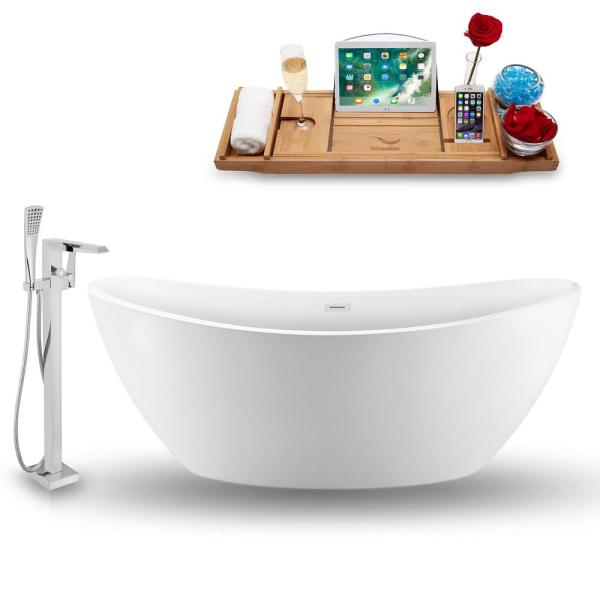 Tub, Faucet and Tray Set 75 in. Acrylic Flatbottom Non-Whirlpool Bathtub in Glossy White