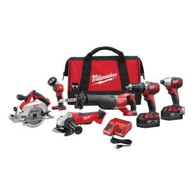 M18 18-Volt Lithium-Ion Cordless Combo Tool Kit (6-Tool) w/(2) 3.0Ah Batteries, (1) Charger, (1) Tool Bag