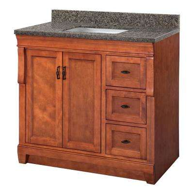 Naples 37 in. W x 22 in. D Vanity in Warm Cinnamon with Granite Vanity Top in Sircolo with White Sink
