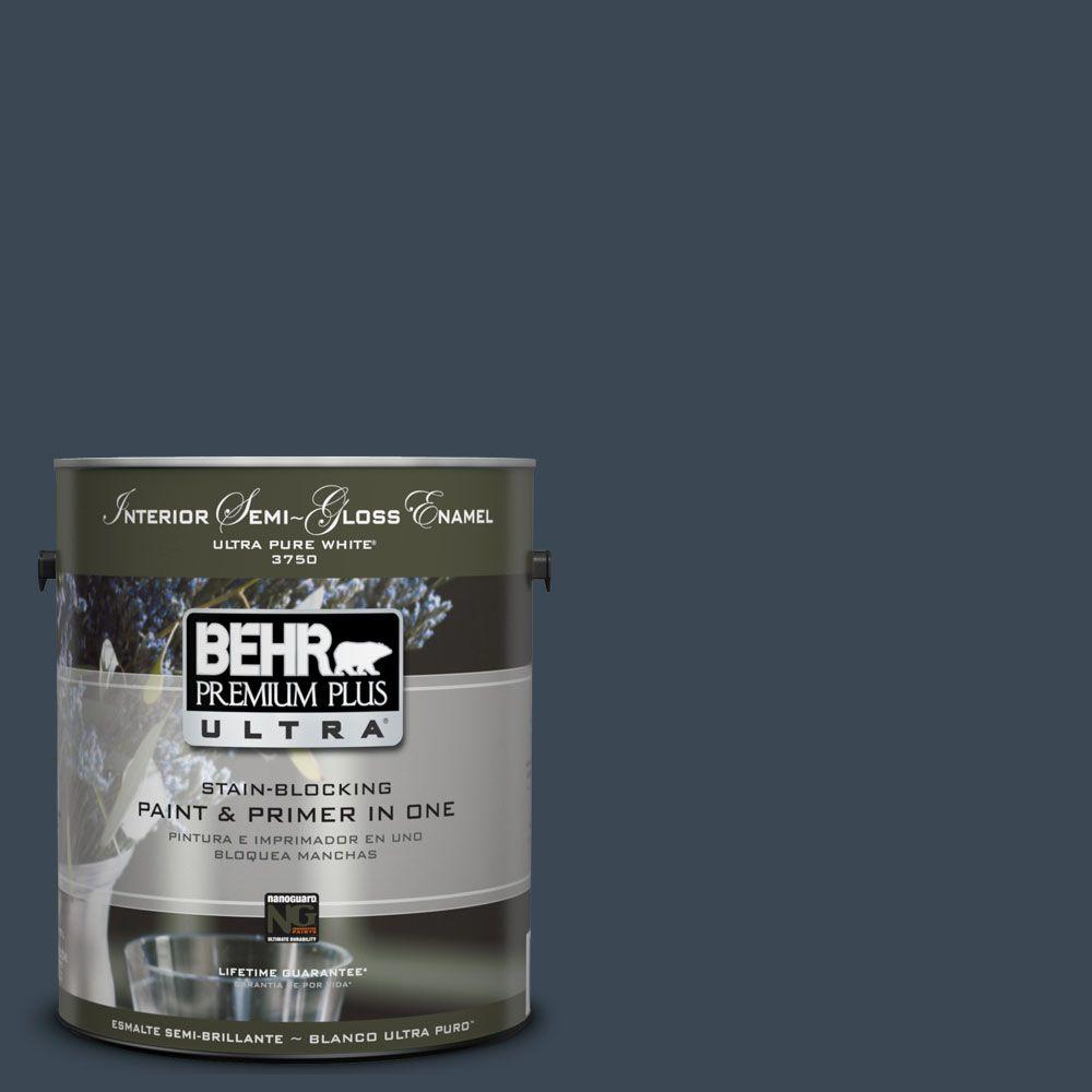 BEHR Premium Plus Ultra 1-gal. #UL230-1 Starless Night Interior Semi-Gloss Enamel Paint