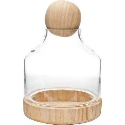 Vidro 10 in. W x 7 in. H Glass Terrarium with Wood Dish and Stopper