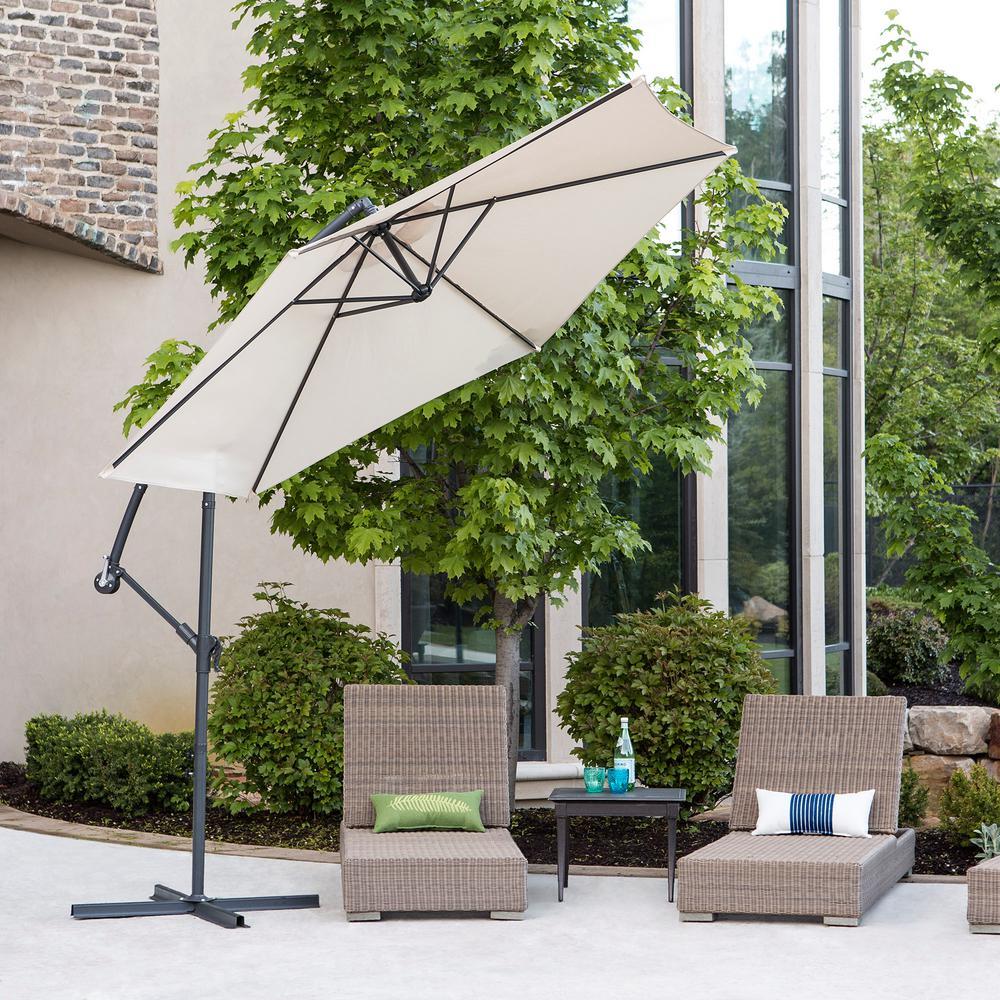 Walker Edison Furniture Company Cantaliever 9 ft. Patio Umbrella in ...