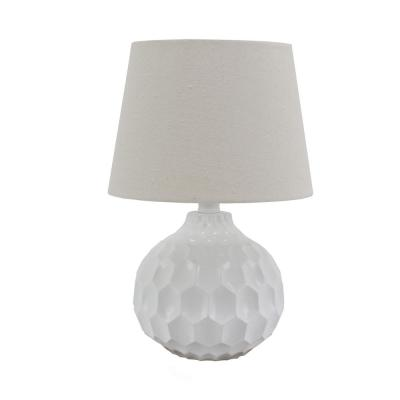 Decor Therapy Bing Faceted 14.5 in. Glossy White Table Lamp with Linen Shade