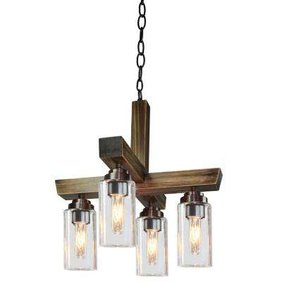 Home Glow 4-Light Distressed Pine Chandelier