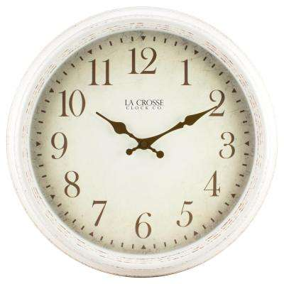 16 in. H Round Antique Patina Analog Wall Clock