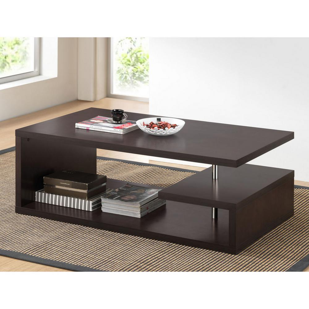 Baxton Studio Lindy Dark Brown Coffee Table 28862 4511 Hd The Home Depot