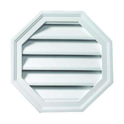 24 in. x 24 in. Polyurethane Functional Octagon Louver Gable Vent Primed White