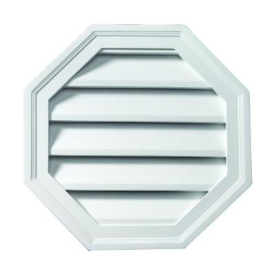 24 in. x 24 in. Octagon White Polyurethane Weather Resistant Gable Louver Vent