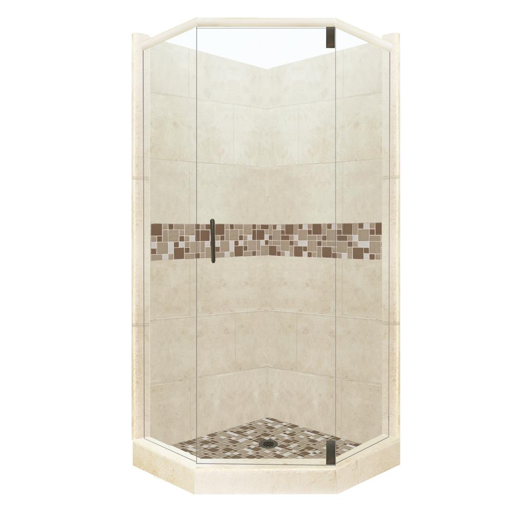 American Bath Factory Tuscany Grand Hinged 32 in. x 36 in. x 80 in. Right-Cut Neo-Angle Shower Kit in Desert Sand and Old Bronze Hardware