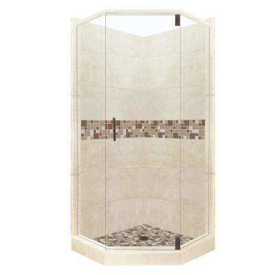 Tuscany Grand Hinged 36 in. x 42 in. x 80 in. Left-Cut Neo-Angle Shower Kit in Desert Sand and Old Bronze Hardware