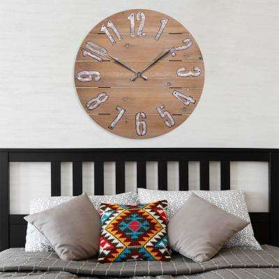 23.5 in. Round Rustic Wood Quartz Wall Clock