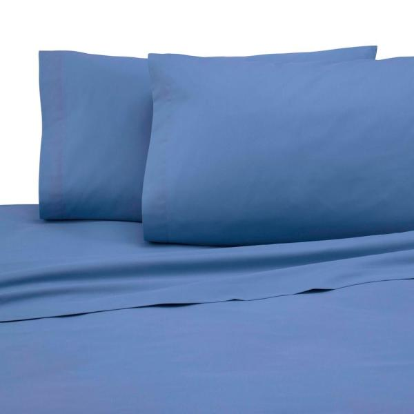 4-Piece Ceil Blue Solid 225 Thread Count Cotton Blend Full Sheet Set