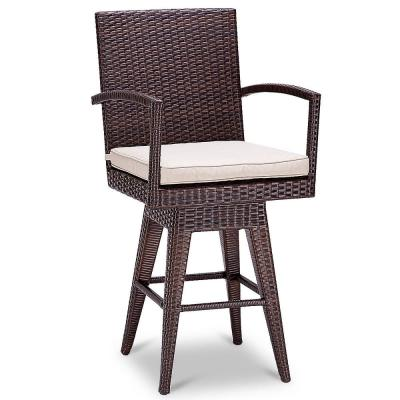 Wicker Swivel Armchair Patio Outdoor Bar Stool with Beige Cushions