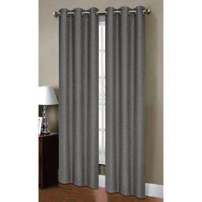 Semi-Opaque Henley Faux Linen 84 in. L Room Darkening Grommet Curtain Panel Pair, Charcoal (Set of 2)