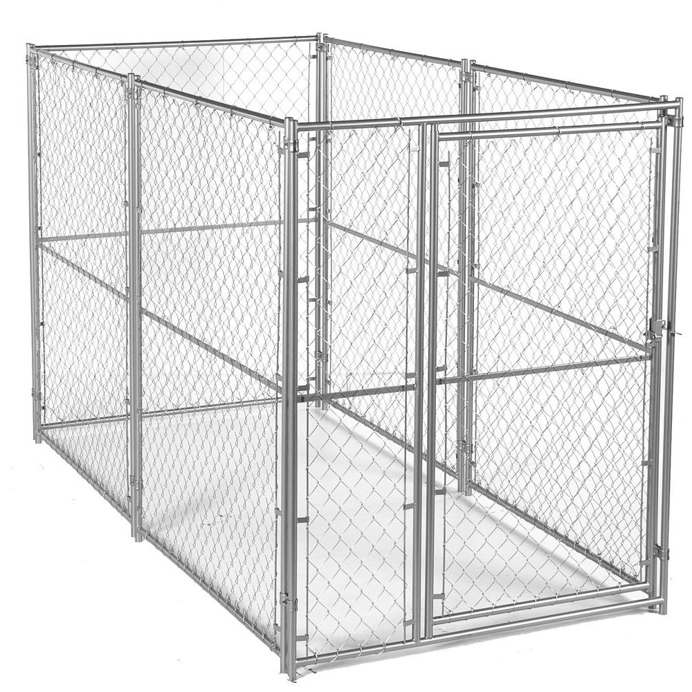 Lucky dog 6 ft h x 5 ft w x 10 ft l modular chain link for Dog kennel cages home depot