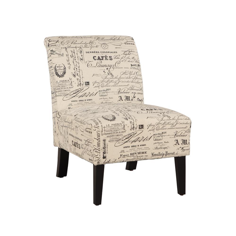 Eucalyptus Dark Walnut Linen Accent Chair