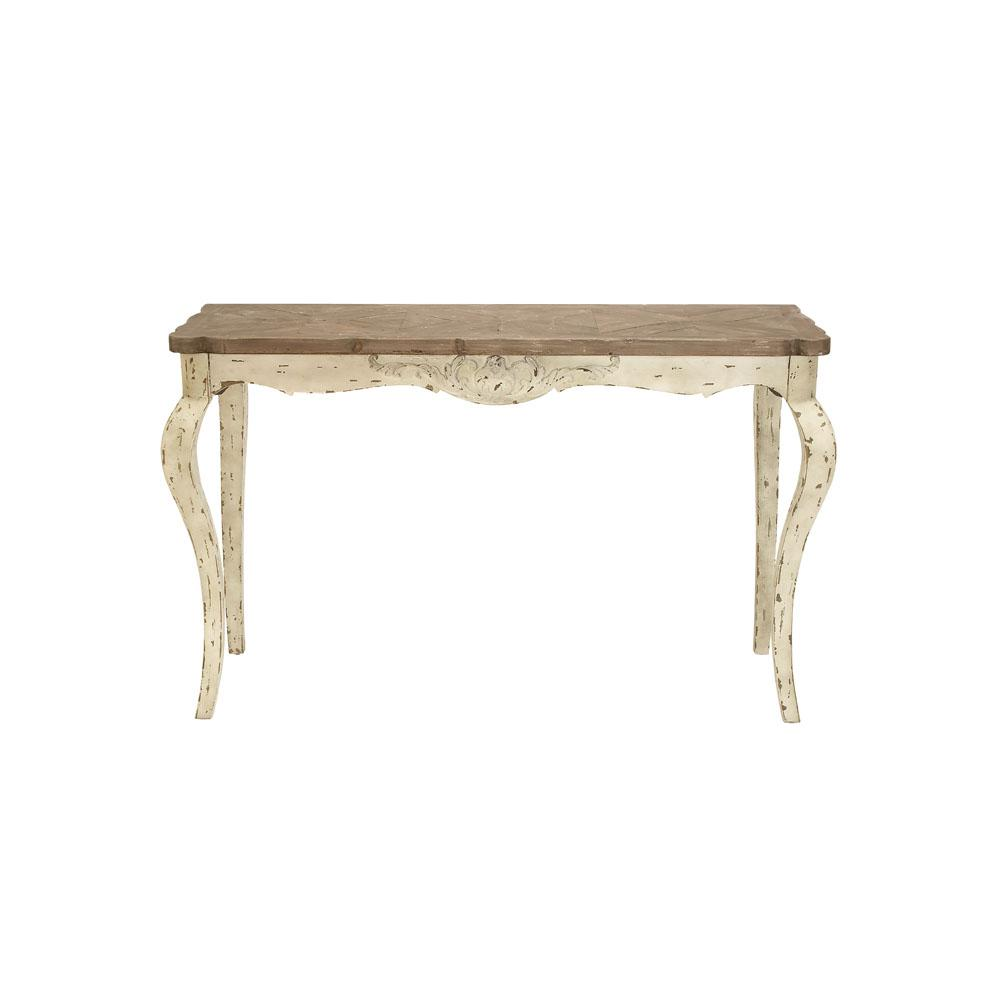 Distressed Brown and White Rectangular Console Table