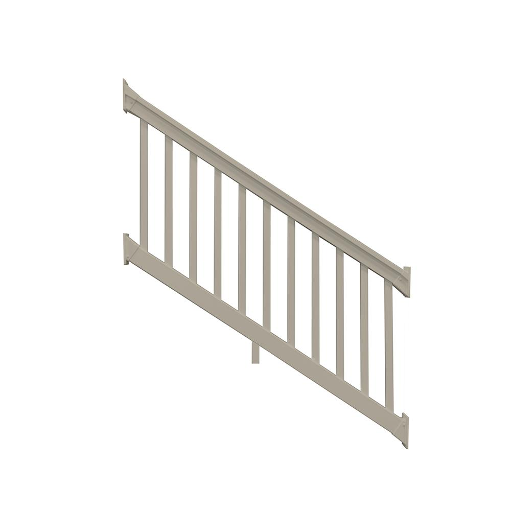 Weatherables Riviera 42 In X 96 In Khaki Vinyl Stair Railing Kit Ckr T42 E8s The Home Depot
