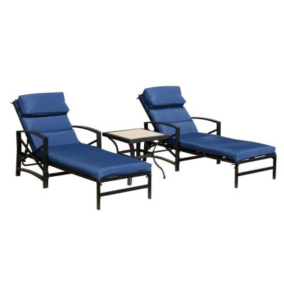 Adjustable Back Steel Outdoor Lounge Chair Set with Blue Cushions (3-Pack)