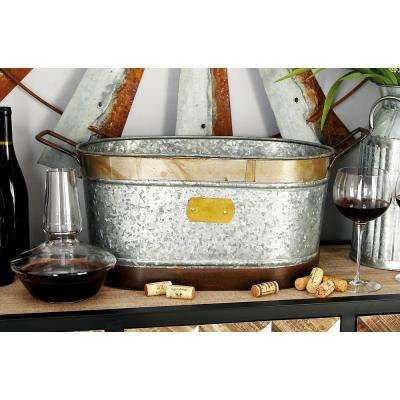 18 in. x 9 in. Oval Bucket Wine Cooler with Rectangular Handles in Distressed Gray and Red Rust