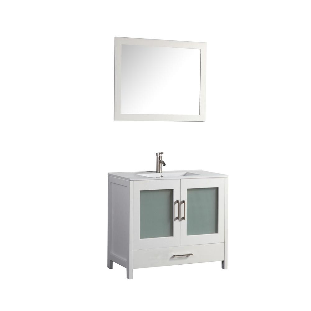 MTD Vanities Argentina 48 in. W x 18 in. D x 36 in. H Vanity in White with Porcelain Vanity Top in White with White Basin and Mirror