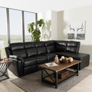 the best attitude bc6f2 cbd07 Baxton Studio Roland 2-Piece Contemporary Black Faux Leather ...