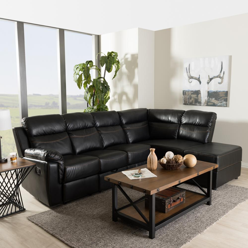 Baxton Studio Roland 2 Piece Contemporary Black Faux Leather Upholstered Right Facing Chase Sectional Sofa